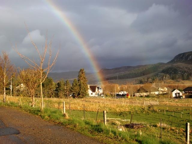 Laggan with a rainbow overhead